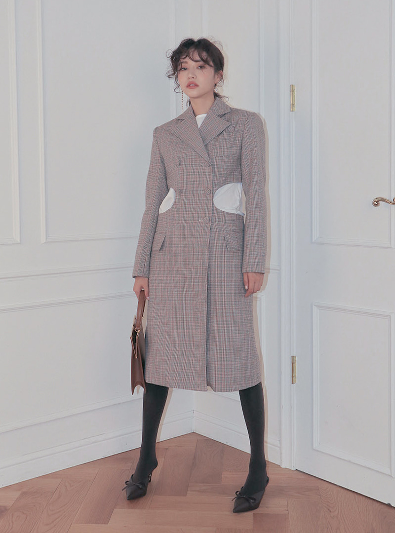 Multi check waist cut out coat